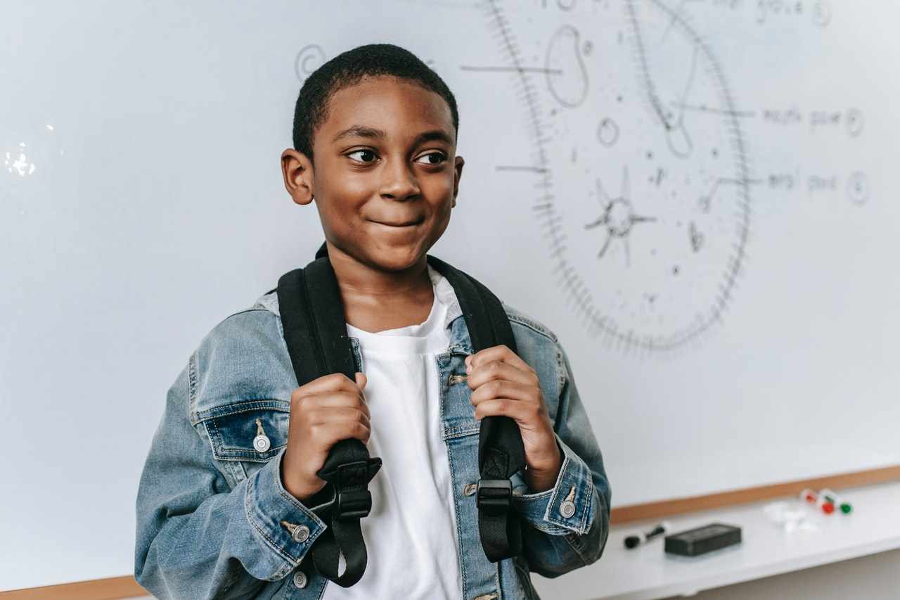 Boy carrying his backpack